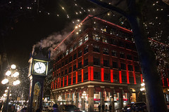 Steam Clock in Gastown - Vancouver, Canada (The Web Ninja) Tags: travel winter light red canada history clock architecture night vancouver canon photography lights photo january historic steam explore nighttime traveling yvr gastown steamclock traveler 2016 explored