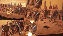 Battle of Geonosis Behind the scenes (Shobrick) Tags: canon army toys starwars lego action explosion battle clones 5d behind minifig battlefield clone scenes props diorama customs markiii shobrick