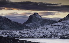 Stac Pollaidh, end of day (KH748) Tags: sunset snow mountains ice water clouds landscape evening scotland rocks hills lochan assynt culmor culbeag lochananais