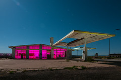 Two Guns (Noel Kerns) Tags: light two arizona abandoned station night painting 66 gas route guns