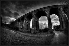 The Viaduct (Steve.T.) Tags: sky blackandwhite monochrome architecture mono nikon arch victorian railway wideangle arches fisheye chapple civilengineering victorianbuilding featofengineering samyang8mmfisheyelens d3100 ommotimagery ilobsterit