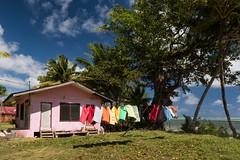 Palauan Backyard (Warriorwriter) Tags: ocean life beach water island day cloudy culture laundry clothesline breeze palau pw micronesia oceania babeldaob melekeok