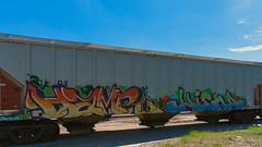 HAMER - HIENA (◀︎Electric Funeral▶︎) Tags: railroad art digital train canon photography graffiti midwest nebraska paint railway iowa fremont kansascity railcar missouri lincoln kansas traincar omaha graff aerosol freight hamer desmoines freighttrain hiena rollingstock councilbluffs benched benching syw xti freighttraingraffiti d2f fr8train olue fr8heaven