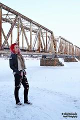 (AV art) Tags: bridge winter sunset woman snow girl suomi finland model photoshoot outdoor january lumi talvi malli tammikuu 2016 pori silta ihminen tytt nainen kuvaus milj