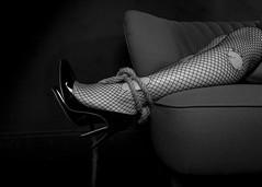 Bound 001 (Honeybee Photography) Tags: blackandwhite legs bondage rope boudoir fishnets tied bound stilettos