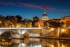 Bridging the dome, Rome (Simon van Ooijen) Tags: bridge blue italy vatican rome roma saint architecture cityscape sint hour bluehour brug pieter pietro vaticaan saintpeter stpieter 2013 ooijen