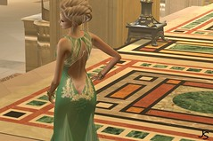 Gilded Back (Jamee Sandalwood - Miss V SWEDEN 2015) Tags: woman sexy female golden model metallic formal sl secondlife virtual blonde gown gilded revamped slfashion zedsensations