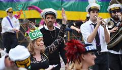 Olive Street Dame de Perlage with the Big Fun brass band - Krewe of Tucks parade (Monceau) Tags: walking women colorful neworleans parade mardigras beadwork olivestreet streetnames kreweoftucks damesdeperlage