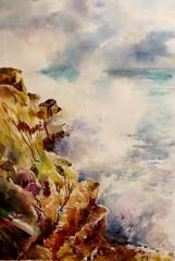 La mer N°6 (geneterre69) Tags: mer watercolor eau aquarelle rocher