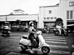 Ho Chi Minh through my lens (-Faisal Aljunied - !!) Tags: blackandwhite monochrome vietnamese highheels mask streetphotography scooter vietnam motorcycle panning saigon hcmc hochiminh benthanhmarket tightjeans faisalaljunied ladywithscooter