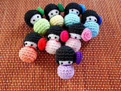 kokeshi dolls (C h i  u) Tags: japan dolls crochet amigurumi kokeshi