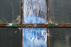 Two By Three (Doris Burfind) Tags: blue toronto abstract texture window glass rust decay pane six annex temperedglass
