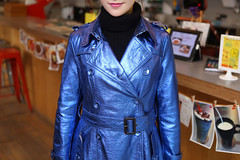 Shiny PU Trench Coat (betrenchcoated) Tags: blue sexy shiny buttons trench trenchcoat raincoat pu beautifulgirl regenmantel doublebreasted