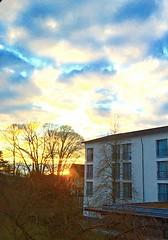 --good bye to the clinic-- (judydeanclasen) Tags: evening settingsun cloudybluesky