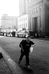 Skater (paralelsuns85) Tags: street city people urban blackandwhite bw man bus male buses canon mall 50mm prime pavement seagull streetphotography 50mm14 skate skateboard tasmania skater hobart canonef50mmf14usm primelens canon6d