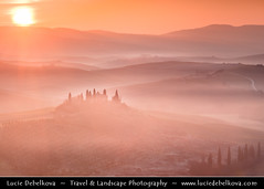 Italy - Tuscany - Iconic Belveder in Val d'Orcia in the morning mist during sunrise ( Lucie Debelkova / www.luciedebelkova.com) Tags: world longexposure trip travel light vacation italy mist holiday tourism beautiful misty sunrise wonderful dawn lights evening fantastic italian europe italia tour place dusk awesome sightseeing eu visit it location tourist journey tuscany stunning destination romantic sight traveling toscana visiting valdorcia exploration incredible touring breathtaking italie luciedebelkova wwwluciedebelkovacom luciedebelkovaphotography