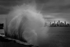 Splash City (Philocycler) Tags: chicago skyline evening wave chicagoskyline bigwave chicagoist