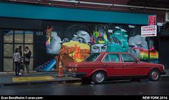 red car graffiti in chelsea (eraneran70) Tags: street nyc girls red urban car chelsea sony 70s eran checks merceds bendheim nex5n