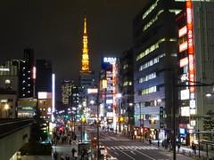 Hamamatsucho (Douguerreotype) Tags: street city people urban tower car sign japan architecture night buildings dark lights tokyo
