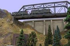 Looking Up (steamfan1211) Tags: railroad bridge trains railways locomotives southernpacific hoscale espee athearn