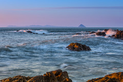 Ailsa Craig & Arran before Sunset (Dooj Brawls Photography) Tags: light sunset sea sky water canon lens eos golden coast scotland rocks waves seascapes spray coastal craig ailsa 70200 ef arran dumfries galloway 6d f4l