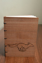 DSC_4322 (scattering_poems) Tags: wood nature paper notebook book sketch running fox binding coptic mahogany woodburning pyrography