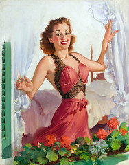 Peering Through the Window by Gil Elvgren (Tom Simpson) Tags: woman sexy girl illustration vintage painting boobs lace lingerie pinup pinupart negligee gilelvgren