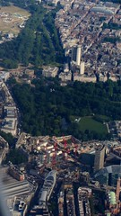 Aerial of London (Copper_Beech221 (acct for more fannish interests)) Tags: city uk travel england london flying britain july victoria hydepark mayfair aerialphotography parklane marblearch wellingtonarch westminstercathedral hydeparkcorner centrallondon 2014 royalmews zone1 apsleyhouse flght dorchesterhotel buckinghampalacegardens bombercommandmemorial