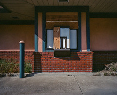 Drive Thru (robert schneider (rolopix)) Tags: california ca color building texture abandoned 120 mamiya film wall mediumformat closed kodak geometry calif drivethru worn weathered eastbay 6x7 expired alameda outofbusiness urbanlandscape outdated alamedapoint outofdate alamedanas mamiya7ii vps 43mm vericolor 120620 robertschneider vericoloriii believeinfilm rolopix