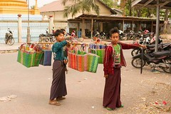 Burmese Boys Selling Handbags, Mandalay Myanmar (JJ Doro - Bangkok) Tags: color pagoda scenery seasia burma tropical myanmar handbags burmese mandalay mahamyatmuni mahamyatmunipagoda mahamunibuddhisttemple