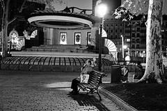 smoking (ivaslop) Tags: street parque blackandwhite man blancoynegro night bench noche fuji smoke banco bilbao fujinon euskadi hombre fumador