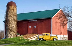 Mellow Yellow (Wes Iversen) Tags: yellow gates michigan barns farms silos trucks classiccars pickups whitelake htt nikkor24120mm sunrays5 happytruckthursday