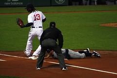 Pickoff attempt (ConfessionalPoet) Tags: baseball ss dive redsox slide throw bradmiller shortstop firstbase baserunner pickoff hanleyramirez firstbaseman tampabayrays