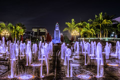 LA Purple Rain (Chigrboy2012) Tags: city love fountain rain for fan hall los downtown die purple angeles you prince tribute would hdr i