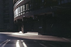 Morning light at the Barbican, on film (Sarah-Louise Burns) Tags: city morning light london architecture sunrise 35mm vintage early retro barbican analogue brutal