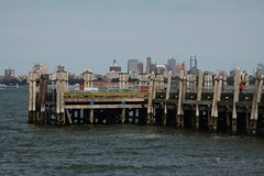 Liberty Island Dock (lefeber) Tags: wood city nyc newyorkcity urban newyork architecture pier dock waterfront posts atlanticocean