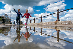 Best Friends on Cowes Parade - DSCF7987 (s0ulsurfing) Tags: friends clouds reflections fuji april fujifilm holdinghands toddlers isle cowes wight 2016 s0ulsurfing xt1