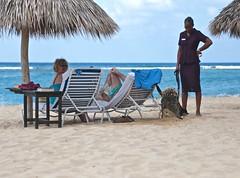 Shadow Digs for Pirate Treasure! (smilla4) Tags: blue sky people dog beach clouds sand digging candid canine shore jamaica blacklab labradorretriever caribbean ochorios thejamaicainn
