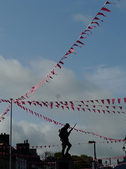 Parade Ground 2 (mdavidford) Tags: pink silhouette statue triangles soldier gun warmemorial plinth radial bushmills stage2 bunting bayonet thediamond giroditalia whiteparkroad