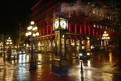 World's first steam powered clock (Christie : Colour & Light Collection) Tags: lighting nightphotography canada reflection history cars tourism wet rain night vancouver reflections dark nikon flickr shine bc headlights steam 1977 gastown steamclock clocks whistles afterdark heritagebuildings steamvent steampowered nightlighting worldsfirst lamplights worldclocks worlds1st horologist thegastownsteamclock gastowndistrict raymondlsaunders centralheatdistributorslimited