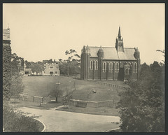 View looking south from Behan Building towards the Chapel, Trinity College (Trinity College, The University of Melbourne) Tags: students 1930s trinitycollege chapel 1937 theuniversityofmelbourneresidentialcollege