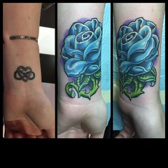 Cover up #rose #tattoo #pooch #alteredstatetattoo