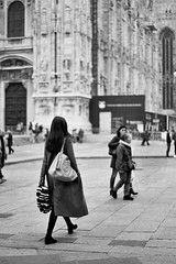 Random woman in Milan (luigi_c135) Tags: street winter people bw italy woman milan girl analog back italia kodak random 10 walk milano trix gothic olympus om10 piazza duomo om 400iso analogic