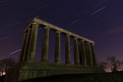 National Monument Star Trail (Kyoshi Masamune) Tags: uk longexposure nightphotography night stars scotland edinburgh wideangle caltonhill startrail ultrawideangle edinburghatnight nationalmonumentofscotland starstax kyoshimasamune