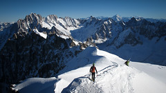 High altitude skiers (Lil [Kristen Elsby]) Tags: mountain france mountains outdoors europe skiing backcountry chamonix topf200 montblanc highaltitude frenchalps skiers aiguilledumidi offpiste wintersports topv8888 outdoorsports chamonixmontblanc canong12