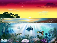 Underwater World (Landscapes) (hypesol) Tags: ocean life blue sea fish plant seaweed green nature water silhouette illustration marine jellyfish underwater bottom bubble backgrounds algae nautical aquatic vector underwaterworld nauticalsea