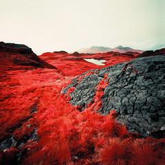 Loch nam Ban Mora (Mark Rowell) Tags: 6x6 film mediumformat ir scotland highlands kodak hasselblad infrared rum swc 903 eigg aerochrome expired120 lochnambanmora