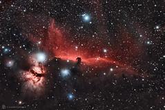 Horsehead Nebula (Barnard 33) (cassianocarromeu) Tags: california red sky colors beautiful night canon stars 33 object space explorer deep telescope nebula astrophotography barnard astronomy universe horsehead scientific 80mm halpha pixinsight 1100d backyardeos