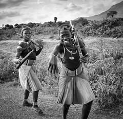 Hamer Girls (Rod Waddington) Tags: africa girls two blackandwhite monochrome female outdoors african traditional streetphotography valle tribal afrika omovalley ethiopia tribe ethnic hamar hamer ethnicity afrique ethiopian omo etiopia ethiopie etiopian