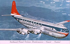 Boeing Stratocruiser, Northwest Orient Airlines (SwellMap) Tags: architecture plane vintage advertising design pc airport 60s fifties aviation postcard jet suburbia style kitsch retro nostalgia chrome americana 50s roadside googie populuxe sixties babyboomer consumer coldwar midcentury spaceage jetset jetage atomicage